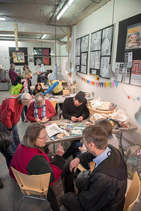 DAVID LIPNOWSKI / WINNIPEG FREE PRESS   People create crafts and art during the ArtsJunktion mb's annual Earth Day celebration and fundraiser Saturday April 23, 2016 at ArtsJunktion mb.