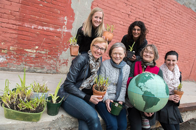 DAVID LIPNOWSKI / WINNIPEG FREE PRESS   Board of directors for ArtsJunktion mb (L-R front row) Melanie Janzen, Andrea Bell Stuart, Dianne Harms, Heather Campbell, (L-R back row) Jessica Dilts, and Marcela Mangarelli pose for a photo during their annual Earth Day celebration and fundraiser Saturday April 23, 2016 at ArtsJunktion mb.