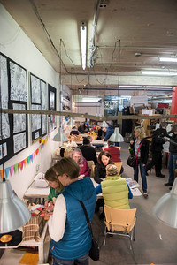 DAVID LIPNOWSKI / WINNIPEG FREE PRESS   People create crafts and art during the ArtsJunktion mb's annual Earth Day celebration and fundraiser Saturday April 23, 2016 at ArtsJunktion mb.