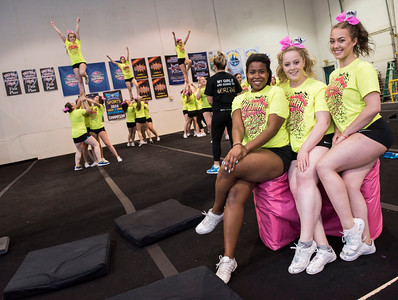 DAVID LIPNOWSKI / WINNIPEG FREE PRESS   Local competitive cheerleading team, Central Cheer Queen Katz members: Ceiandra Lyons, Serena Stuart, Carla Switzer pose for a photo during practice Sunday April 24, 2016.
