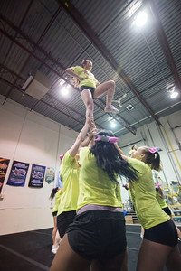 DAVID LIPNOWSKI / WINNIPEG FREE PRESS   Local competitive cheerleading team, Central Cheer Queen Katz during practice Sunday April 24, 2016.