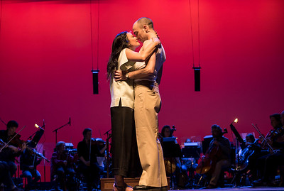 DAVID LIPNOWSKI / WINNIPEG FREE PRESS  Aaron Hutton performs as Lt. Joe Cable alongside Stephanie Sy as Liat during the South Pacific media call Friday, April 7, 2017 at the Centennial Concert Hall.