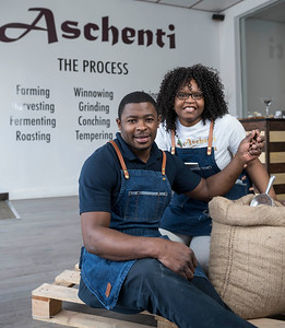DAVID LIPNOWSKI / WINNIPEG FREE PRESS  Christelle and Christian Mekoh display their chocolate products at their shop, Aschenti Cocoa Friday April 7, 2017.