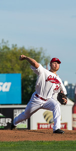 DAVID LIPNOWSKI / WINNIPEG FREE PRESS   Winnipeg Goldeyes starting pitcher Edwin Carl (#24) while playing against the Sioux City Explorers at Shaw Park Saturday August 27, 2016.