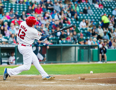 DAVID LIPNOWSKI / WINNIPEG FREE PRESS   Winnipeg Goldeyes David Rohm (#12) hits the ball while playing against the Sioux City Explorers at Shaw Park Saturday August 27, 2016.
