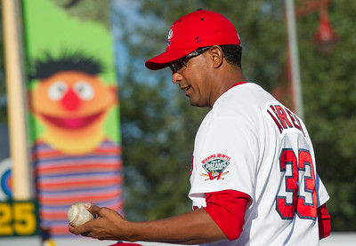 DAVID LIPNOWSKI / WINNIPEG FREE PRESS   Winnipeg Goldeyes Winston Abreu (#33) prior to the game against the Sioux City Explorers at Shaw Park Saturday August 27, 2016.