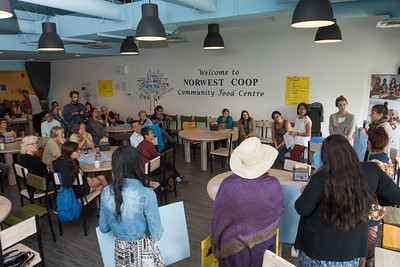 DAVID LIPNOWSKI / WINNIPEG FREE PRESS  Participants at 13 fires: food at Norwest Coop Community Food Centre Saturday August 27, 2016.