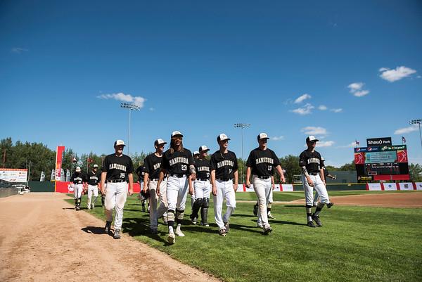 DAVID LIPNOWSKI / WINNIPEG FREE PRESS  Team Manitoba prepares to start their semifinal Canada Summer Games baseball game against Alberta Thursday August 3, 2017 at Shaw Park.