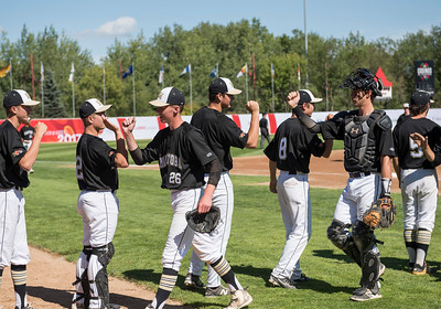 DAVID LIPNOWSKI / WINNIPEG FREE PRESS  Team Manitoba high fives during their semifinal Canada Summer Games baseball game against Alberta Thursday August 3, 2017 at Shaw Park.