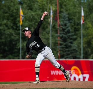 DAVID LIPNOWSKI / WINNIPEG FREE PRESS  Team Manitoba starting pitcher #25 Noah Geekie throws a pitch during the semifinal Canada Summer Games baseball game against Alberta, Thursday August 3, 2017 at Shaw Park.