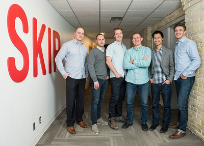 DAVID LIPNOWSKI / WINNIPEG FREE PRESS   (L-R) Dan Simair, Howard Migdal (Canada Country Manager for Just Eat), Joshua Simair, Jeff Adamson, Andrew Chau, and Chris Simair   are co founders of Skip the Dishes photographed in their Winnipeg office Thursday December 15, 2016.