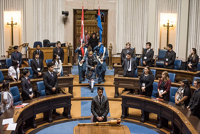 DAVID LIPNOWSKI / WINNIPEG FREE PRESS  The opening ceremonies for the 97th annual Winter Session of The Youth Parliament of Manitoba featured the 170 St James royal Canadian air cadets honour guard in the Manitoba Legislative Building chambers Wednesday December 26, 2018.