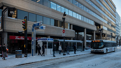 DAVID LIPNOWSKI / WINNIPEG FREE PRESS  Winnipeg Transit Inspector Stations are now operating at two downtown safety hot spots, including this one at Graham Avenue and Fort Street Thursday December 27, 2018.