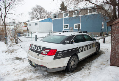 DAVID LIPNOWSKI / WINNIPEG FREE PRESS  A police cruiser was parked outside of 15 Treger Bay Friday February 19, 2016 in connection with the Cooper Nemeth case.