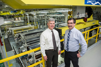 DAVID LIPNOWSKI / WINNIPEG FREE PRESS  Winpak President James Holland and Plant Manager Chris Parker pose for a photograph Wednesday January 10, 2018 at the Winnipeg facility. Winpak is one of the first to get the manufacturing safety certification/designation.