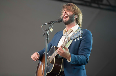 DAVID LIPNOWSKI / WINNIPEG FREE PRESS   Lead singer of Lord Huron Ben Schneider performs on the main stage at Folk Fest at Birds Hill Park Sunday July 10, 2016.