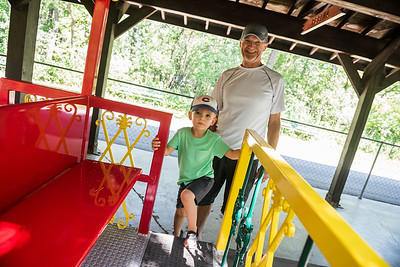 DAVID LIPNOWSKI / WINNIPEG FREE PRESS  Brady (age 2.5) and grandfather Len Rolfson are the first passengers on the Assiniboine Park Railroad Friday July 13, 2018.