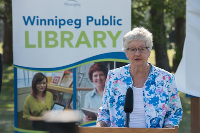DAVID LIPNOWSKI / WINNIPEG FREE PRESS  Helen Norrie speaks during the official unveiling of the location of the future River Heights Library, renamed the Bill & Helen Norrie Library Friday July 13, 2018.