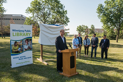 DAVID LIPNOWSKI / WINNIPEG FREE PRESS  Councillor John Orlikow, River Heights-Fort Garry Ward speaks during the official unveiling of the location of the future River Heights Library, renamed the Bill & Helen Norrie Library Friday July 13, 2018.