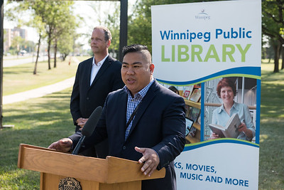 DAVID LIPNOWSKI / WINNIPEG FREE PRESS  Councillor Mike Pagtakhan, Chair, Standing Policy Committee on Protection, Community Services, and Parks speaks during the official unveiling of the location of the future River Heights Library, renamed the Bill & Helen Norrie Library Friday July 13, 2018.