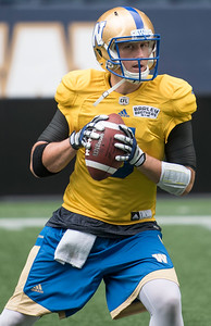 DAVID LIPNOWSKI / WINNIPEG FREE PRESS   Winnipeg Blue Bombers #5 Drew Willy during practice at Investors Group Field Friday Sunday July 17, 2016.