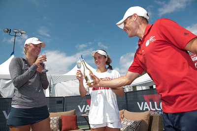 DAVID LIPNOWSKI / WINNIPEG FREE PRESS  Francesca Di Lorenzo of USA (center), Erin Routliffe of Canada (left) and Mark Arndt of the Tournament have Champagne after Francesca Di Lorenzo claimed the women's singles title at the National Bank Challenger Tennis Tournament at Winnipeg Lawn Tennis Club Sunday July 17, 2016.