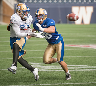 DAVID LIPNOWSKI / WINNIPEG FREE PRESS   Winnipeg Blue Bombers #38 Ian Wild (right) during practice at Investors Group Field Friday Sunday July 17, 2016.