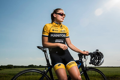 DAVID LIPNOWSKI / WINNIPEG FREE PRESS  Chloe Penner is a local cyclist competing in the Canada Games this summer in Winnipeg. She poses for a photo prior to the Grand Pointe Road Race in Grand Pointe, Manitoba Wednesday July 5, 2017.