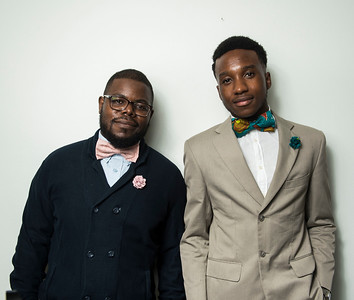 DAVID LIPNOWSKI / WINNIPEG FREE PRESS   Guylain Nkongolo owner of Lula Nga (left) with his brother-in-law and co-founder Kenan Kamanga (right) pose for photographs Wednesday July 5, 2017.  They run a local business that specializes in one-of-a-kind bowties, pocket squares and flower pins that reflect the culture of Guylain's home country, Congo.