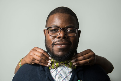 DAVID LIPNOWSKI / WINNIPEG FREE PRESS   Owner of Lula Nga, Guylain Nkongolo, poses for photographs Wednesday July 5, 2017.  They run a local business that specializes in one-of-a-kind bowties, pocket squares and flower pins that reflect the culture of Guylain's home country, Congo.