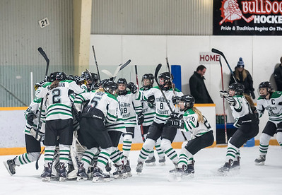 DAVID LIPNOWSKI / WINNIPEG FREE PRESS  Vincent Massey Trojans  celebrate their win over the St. Mary's Flames during the Women's High school hockey A division semi finals at Sam Southern Arena Thursday March 2, 2017. The Vincent Massey Trojans  advance to final against the Shaftesbury Titans.