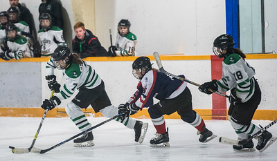 DAVID LIPNOWSKI / WINNIPEG FREE PRESS  Vincent Massey Trojans  #7 Victoria Tachinksi	skates for the puck against St. Mary's Flames during the Women's High school hockey A division semi finals at Sam Southern Arena Thursday March 2, 2017. The Vincent Massey Trojans  advance to final against the Shaftesbury Titans.
