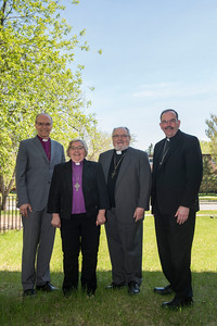 DAVID LIPNOWSKI / WINNIPEG FREE PRESS  (L-R) Bishop Donald Philips, Bishop Elaine Sauer, Archbishop Lawrence Huculak, and Archbishop Albert LeGatt pose for a photo at Ephiphany Lutheran Church Tuesday May 17, 2016. The Winnipeg Bishops from various denominations (Lutheran, Anglican, Catholic, Orthodox) get together to discuss common concerns over lunch.
