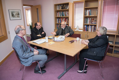 DAVID LIPNOWSKI / WINNIPEG FREE PRESS  (L-R) Bishop Donald Philips, Archbishop Albert LeGatt, Archbishop Lawrence Huculak, and Bishop Elaine Sauer converse at Ephiphany Lutheran Church Tuesday May 17, 2016. The Winnipeg Bishops from various denominations (Lutheran, Anglican, Catholic, Orthodox) get together to discuss common concerns over lunch.