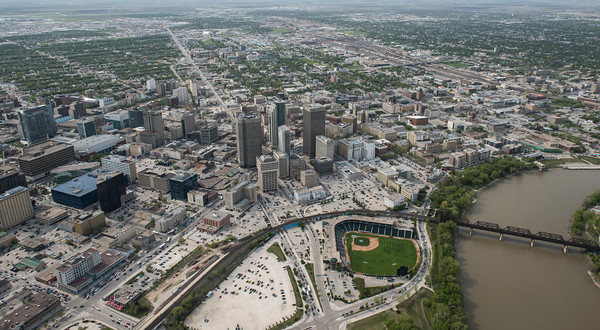 DAVID LIPNOWSKI / WINNIPEG FREE PRESS  Downtown Winnipeg featuring Portage and Main, and Shaw Park  Aerial photography over Winnipeg May 18, 2016 shot from STARS helicopter.