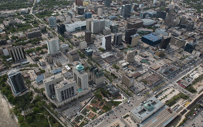 DAVID LIPNOWSKI / WINNIPEG FREE PRESS  Downtown Winnipeg featuring The Fort Garry Hotel and Upper Fort Garry Heritage Park   Aerial photography over Winnipeg May 18, 2016 shot from STARS helicopter.