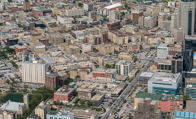 DAVID LIPNOWSKI / WINNIPEG FREE PRESS  Downtown Winnipeg and Exchange District  Aerial photography over Winnipeg May 18, 2016 shot from STARS helicopter.