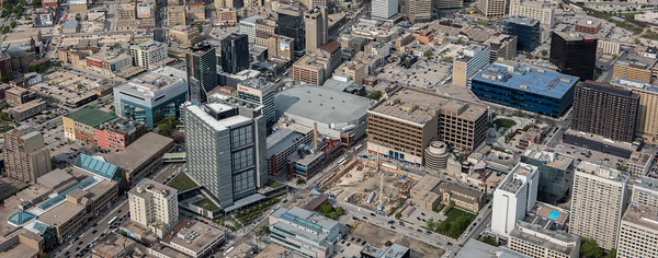 DAVID LIPNOWSKI / WINNIPEG FREE PRESS  Downtown Winnipeg, including True North Square construction site.  Aerial photography over Winnipeg May 18, 2016 shot from STARS helicopter.