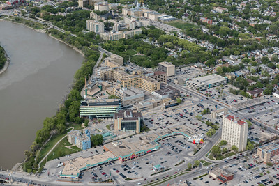 DAVID LIPNOWSKI / WINNIPEG FREE PRESS  St. Boniface Hospital  Aerial photography over Winnipeg May 18, 2016 shot from STARS helicopter.