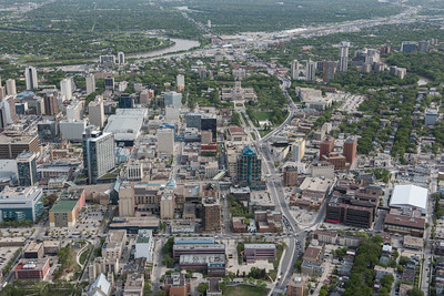 DAVID LIPNOWSKI / WINNIPEG FREE PRESS  Downtown Winnipeg  Aerial photography over Winnipeg May 18, 2016 shot from STARS helicopter.