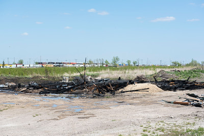 DAVID LIPNOWSKI / WINNIPEG FREE PRESS  Scene of fire at St. Boniface Landscaping near Plessis Rd & Dawson Rd. South Saturday May 21, 2016.