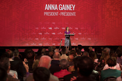 DAVID LIPNOWSKI / WINNIPEG FREE PRESS  Liberal Party of Canada President Anna Gaine delivers remarks during the opening of the 2016 Liberal Biennial Convention at RBC Convention Centre Thursday May 25, 2016.