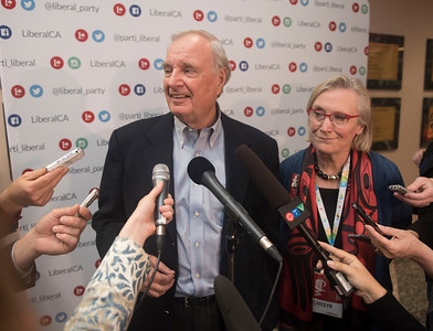 DAVID LIPNOWSKI / WINNIPEG FREE PRESS  21st Prime Minister of Canada, Paul Martin and Indigenous and Northern Affairs Minister Carolyn Bennett speak to media during the opening of the 2016 Liberal Biennial Convention at RBC Convention Centre Thursday May 25, 2016.