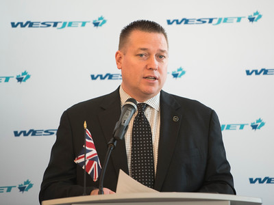 DAVID LIPNOWSKI / WINNIPEG FREE PRESS  Pascal Belanger, Vice President and Chief Commercial Officer, Winnipeg Airports Authority prior to WestJet's inaugural flight from Winnipeg to London from Winnipeg Richardson International Airport's gate 6 Saturday, May 7, 2016.
