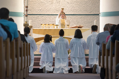 DAVID LIPNOWSKI / WINNIPEG FREE PRESS  Mass led by Rev. Enrique Samson at St. Peter's Roman Catholic Church Saturday, May 7, 2016. The church will be breaking ground on Sunday May 15, 2016 for a new $35 M parish complex.