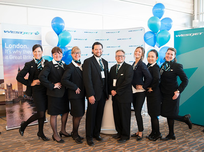 DAVID LIPNOWSKI / WINNIPEG FREE PRESS  The inaugural flight crew to Gatwick prior to WestJet's inaugural flight from Winnipeg to London from Winnipeg Richardson International Airport's gate 6 Saturday, May 7, 2016.