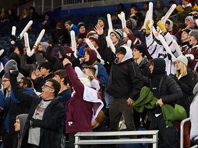 St. Paul's Crusaders fans celebrate a first half play. The Crusaders won 22-0 in the Winnipeg High School Division 1 finals championship game at IG Field Saturday November 16, 2019. (David Lipnowski / Winnipeg Free Press)