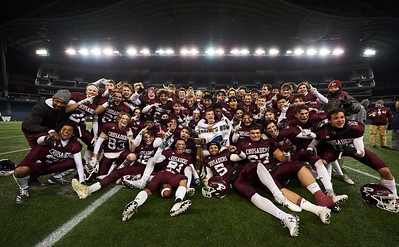 St. Paul's Crusaders beat the Vincent Massey Trojans 22-0 in the Winnipeg High School Division 1 finals championship game at IG Field Saturday November 16, 2019. (David Lipnowski / Winnipeg Free Press)