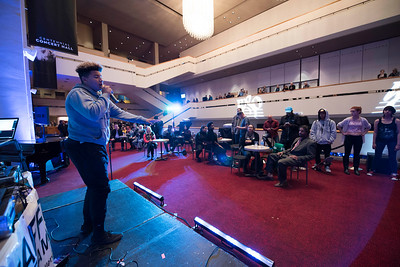 DAVID LIPNOWSKI / WINNIPEG FREE PRESS   Hip Hop artists Lukas performs with DJ Boogy the Beats prior to a performance by Nereo Eugenio II and Simon Miron with the Winnipeg Symphony Orchestra performing Symphonie Fantastique on Tuesday, October 18, 2016 at the Centennial Concert Hall.
