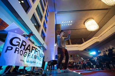 DAVID LIPNOWSKI / WINNIPEG FREE PRESS   Hip Hop artists Rene performs with DJ Boogy the Beats prior to a performance by Nereo Eugenio II and Simon Miron with the Winnipeg Symphony Orchestra performing Symphonie Fantastique on Tuesday, October 18, 2016 at the Centennial Concert Hall.